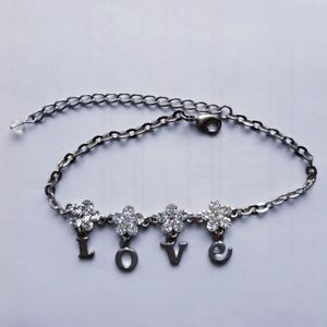 LOVE Bracelet with Crystal Flowers